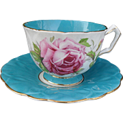 Vintage Aynsley Crocus Turquoise Pink Cabbage Rose Gold Teacup and Saucer 1931