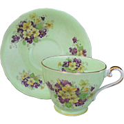 Vintage Aynsley Yellow Purple Violas Corset Shape Teacup and Saucer