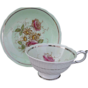 Paragon DW Queen Mary Pink Rose Silver Trim Teacup and Saucer