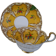 Vintage HP Aynsley Grapes and Berry in Yellow Cartouche Teacup and Saucer