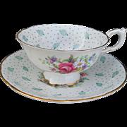 Vintage Paragon Polka Dot & Bursts Turquoise Gold Cabinet Teacup and Saucer