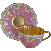 Exquisite Antique Gold Encrusted Garlands on Pink Royal Doulton Teacup and Saucer
