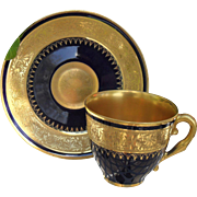 Stunning Limoges France Gold Gilt Cobalt Blue Cup and Saucer