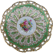 Beautiful Copeland England Handpainted Floral Molded Reticulated Plate