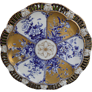 Stunning Antique Coalport Gold and Cobalt Blue Reticulated Plate