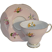 Sweet Pink Floral EB Foley England Teacup and Saucer