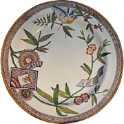Antique Wedgwood Polychrome Transferware Aesthetic 'Louise' Plate 1880 Bird Ship