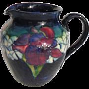 Elegant Moorcroft Iris on Cobalt Blue Pitcher Jug
