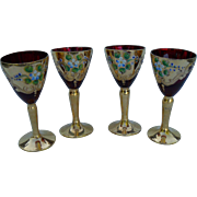 Four Czech Bohemian Ruby Wine Glass Applied Enamel Flowers 24k Gold