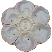 Rare Set of Twelve Six Well Paris Porcelain Le Rosey Iridescent Oyster Plates