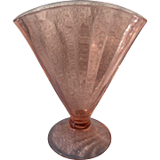 Pink Depression Glass Optic Pattern Fan Vase