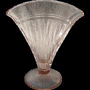 "Pink Depression Glass Pleated Pattern Fan Vase 6 1/2"""