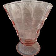 """Vintage Pink Depression Glass Pattern Fan Vase 7"""""""
