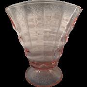 """Vintage Pink Depression Glass Pattern Fan Vase 6"""""""