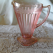 Jeannette Pink Depression Glass Adam 32 ounce Pitcher