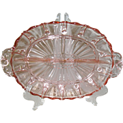 Anchor Hocking Pink Depression Glass Oyster and Pearl Divided Dish