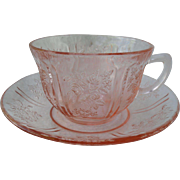Federal Glass Company Pink Depression Sharon Cabbage Rose Cup and Saucer