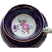 Aynsley Footed Floral Cobalt Blue Gold/Gilt Teacup and Saucer