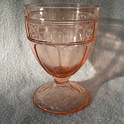 """Rare Jeannette Pink Depression Glass Doric Goblet 5"""""""