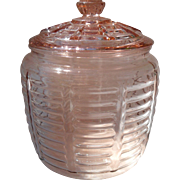 Anchor Hocking Pink Depression Glass Manhattan Cookie Biscuit Jar