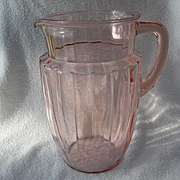 Anchor Hocking Glass Company pink Depression Glass Pillar Optic Pitcher