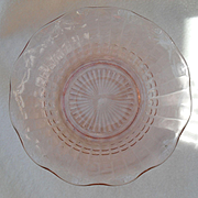 Pair of Delicate Pink Depression Glass Ruffled Serving Bowls