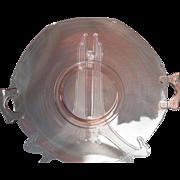 Vintage Pink Depression Glass Two Handled Serving Plate