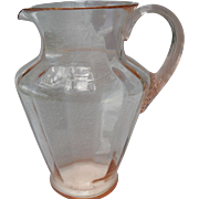 Large Vintage Pink Depression Glass Optic Lemonade Pitcher