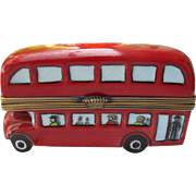 Peint Main Limoges Eximious French Porcelain London Double Decker Bus Pill Box GR