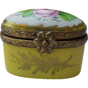 Vintage Limoges Pink Rose Yellow Enamel Pill Box Ormolu