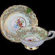 Vintage Paragon DW Mint Green Florals Gold Encrusted Teacup and Saucer