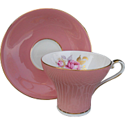 Vintage Aynsley Pink Corset Shape Teacup and Saucer Pink Roses