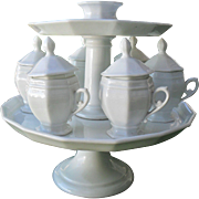 Antique Old Paris White Porcelain Pot de Creme Two Tier Tray