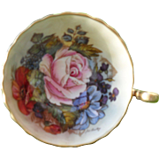 Aynsley Cobalt Blue Footed Pink Rose Floral Gold/Gilt Teacup and Saucer Signed JA Bailey