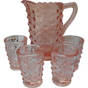 Sweet Pink Depression Hobnail Doll Toy Childs Pitcher Lemonade Tumbler Set