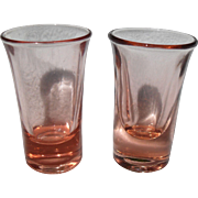 Pair of Pink Depression Glass Vodka Stems Shot Glasses