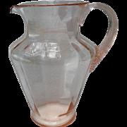 Large Pink Depression Glass Lemonade Pitcher