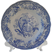 Rare Antique Spode Blue and White 'British Flowers' Rimmed Soup 1828