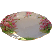 "Royal Albert Pink Blossom Time Spring Green Grass Serving Dish 8 1/4"""