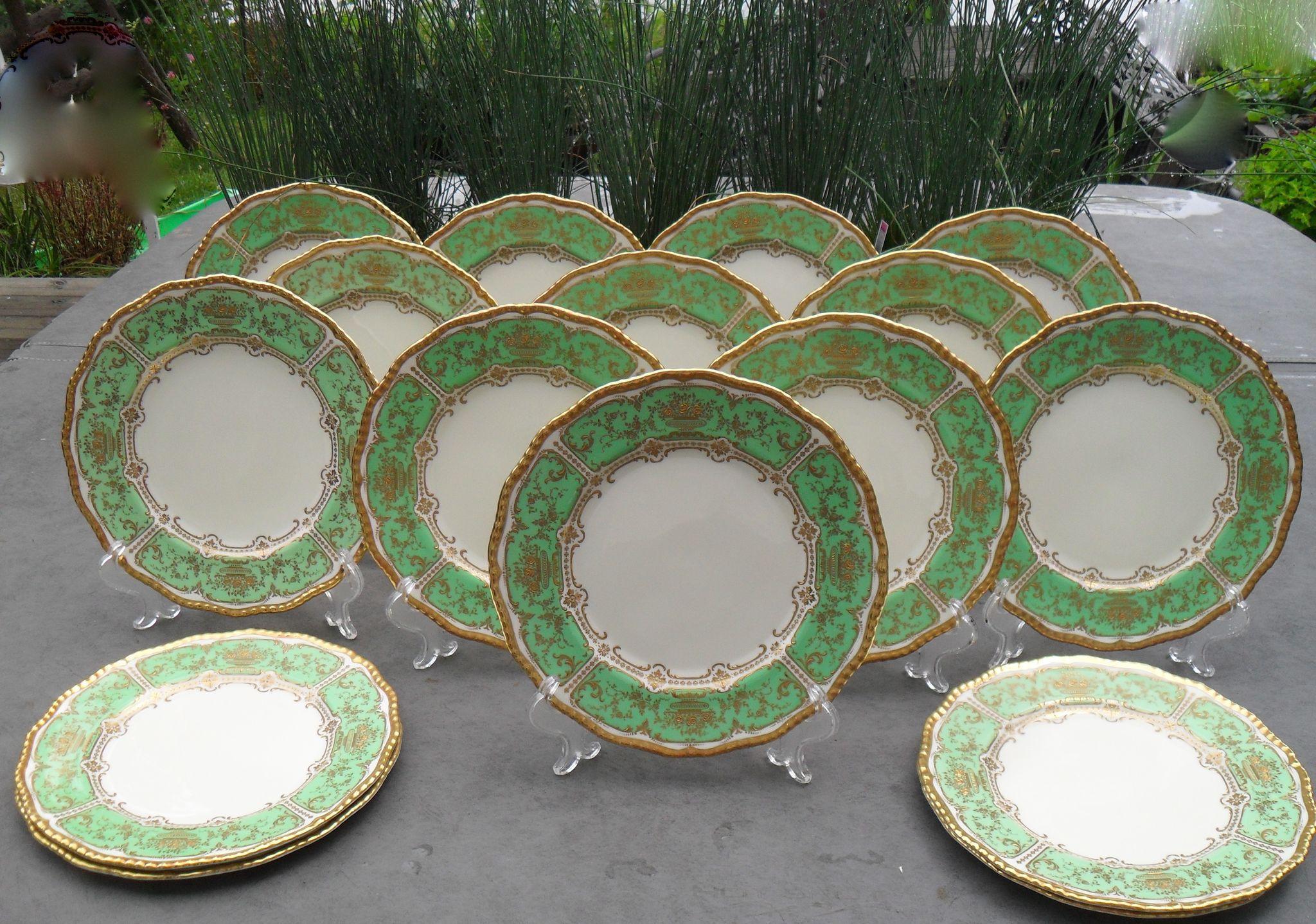 great royal doulton set of gold encrusted spring green dinner plates misssmithvt ruby lane with royal doulton dinner plates & Royal Doulton Dinner Plates. Beautiful Royal Doulton Dinner Plate ...