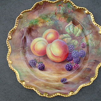 Royal Worcester Fruit Study Encrusted Gold Cabinet Plate Sgnd HH Price