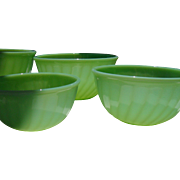 Anchor Hocking Fire King Jadeite Swirl Four Piece Mixing Bowls