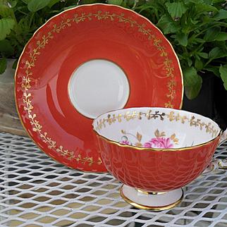 Vintage Aynsley Coral Pink Rose Gold Teacup and Saucer 2376