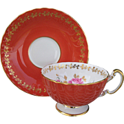 Vintage Aynsley Coral Pink Rose Gold Teacup and Saucer  2376