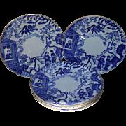 "Six Royal Crown Derby Blue Mikado Bread Tea Plate 6 1/4"""