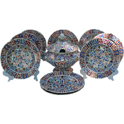 Antique Fischer & Mieg Pirkenhammer Imari with Birds Tureen and Soup Bowls Signed