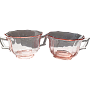 Cambridge Pink Depression Glass Decagon Creamer and Open Sugar Bowl