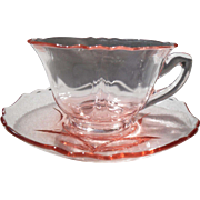 Vintage Cambridge Pink Depression Glass Teacup and Saucer