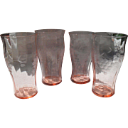 Four Etched Grapes Pink Depression Glass Tumblers