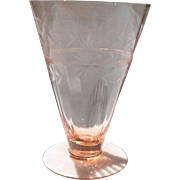 Vintage Pink Depression Glass Footed Etched Tumbler